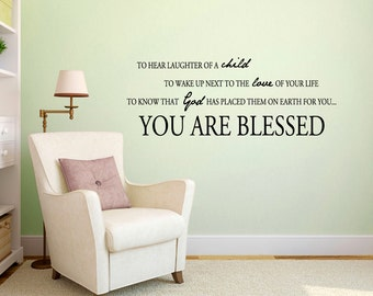 You Are Blessed - Nursery and Kids Room Wall Decals