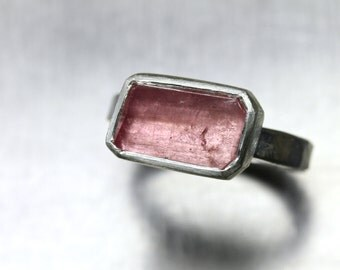 Rustic Freeform Faceted Rough Pink Tourmaline Ring Forged Silver Rectangular Primitive Geometric Asymmetrical - Blush Geo