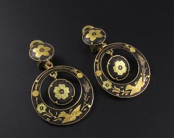 Damascene Earrings, Damascene Hoop Earrings, Black Earrings, Flower Earrings, Gold Earrings, Dangle Earrings, Gold Hoop Earrings