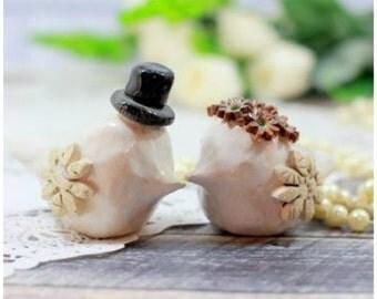 Custom love birds cake topper Wedding cake topper Bride and groom