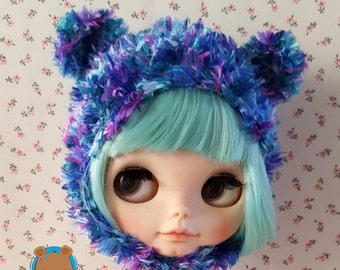 Blue, turqoise and purple furry bear hat for Neo Blythe
