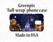 Disney Samsung Galaxy S7, S6, S5 phone case, Magic Kingdom Main Street USA, Cinderella Castle fireworks, full image wrap, princess