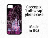 Disney phone case, pink princess castle, fireworks, iPhone 7, 6S, Galaxy S6, Cinderella, Disney fan gear, Disney iPhone case, greenpix photo
