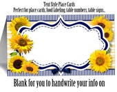 12 Blank Tent Style Place Cards, Name Cards, Buffet Food Labels, Sunflowers, Yellow & Navy, Wedding, Bridal or Baby Shower, Birthday
