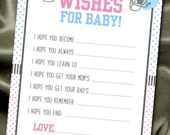10 Wishes for Baby Cards, Baby Shower Party Games, Activity Game Cards, Baby Gender Reveal Party, Football Theme, Pink VS Blue
