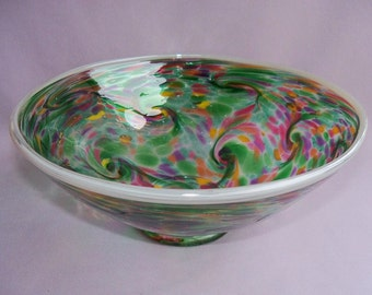 Hand Blown Art Glass Fruit ,Candy Bowl on Foot, Green Multicolored , Bubble Pattern.