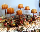 Rustic Fall Pumpkin Candle Holder Candle Holder Fall Floral Thanksgiving Pumpkin Candle Holder Acorn Pumpkin's Dried Oranges Candle Holder