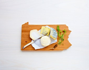 Pennsylvania Cutting Board 4th of july Gift Personalized engraved Pennsylvania cheese state shaped board