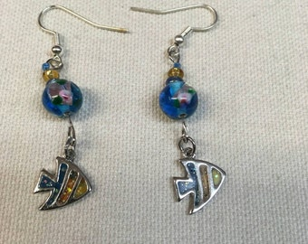 Glass Bead Angel Fish Earrings FREE SHIPPING