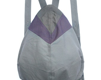 Unique light gray backpack with darker gray and purple, drop shape super safe, RECYCLED LEATHER