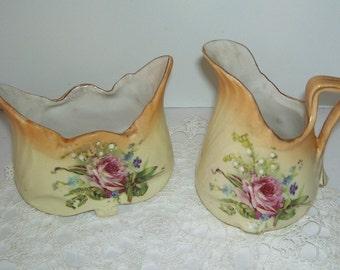 Antique Porcelain Creamer and Sugar Bowl Set, Hand Painted, Farm House Kitchen, Floral Design  Kitchen Farm House, Country Cottage