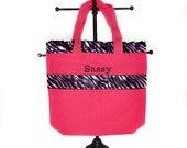 Pink Personalized Ruffle Bag with Name Embroidered on it. Pink Ruffle Bag. Dance Bag, Swim bag, Book Bag, Princess Bag, Easter Basket Bag