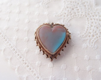 Antique Victorian SAPHIRET Heart Brooch Pin, Large Puffy Heart Pin, Rose Gold Fill Romantic 1800s Stunning!