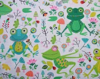 Frog Cartoon Timeless Treasures Cotton Quilting Fabric Yard