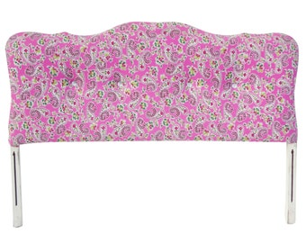 Full Upholstered Pink Floral Headboard Bed With Rhinestone Buttons