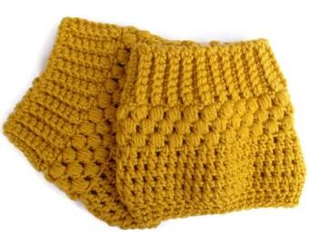 Golden Yellow Boot Socks Winter Fashion Gifts for Teenage Girls Womens Boot Socks Crochet Boot Cuff Boot Topper Boot Tops Hand Crocheted