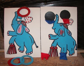 New 2  games  blue  elephant  circus  games with   4 rings  and  4  bean bags