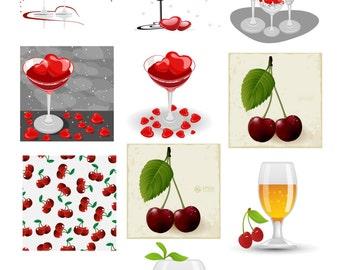 10 Heart Shaped Wine Glasses-Digital Immediate Download-Heart Shaped-Wine Glasses-Gift Cards