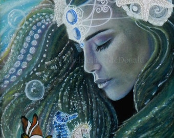 Mermaid Painting Art Reproduction - mermaids, mermaid art, mermaid gift, nautical decor, mermaid card, mermaid print, fantasy art,