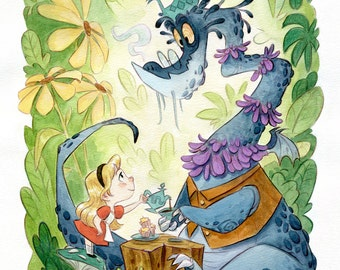 Alice and the Jabberwock | Fine Art Print | Little Girl Alice with Dragon, Tea Party, Storybook Fairy Tale, Children's or Nursery Room