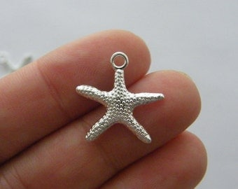 10 Starfish charms silver plated tone FF294