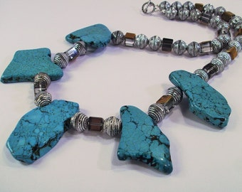 Large Blue slab Turquoise, dark amber mirrored crystals, and silver bead Necklace OOAK