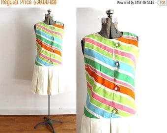 ON SALE 60s Scooter Dress / 1960s Dress / Colorful Rainbow Striped Mod 60s Dress