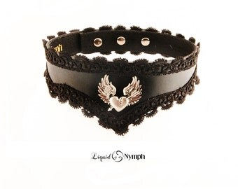 BDSM Wing Flying Heart Black Leather and Lace Collar Rockabilly Elegant Choker Valentine's day Gift Kitten Pet Play Slave Kitten Play Collar
