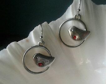 Bird Earrings,Rhinestone Bird Earrings,Cardinal Red Bird Earrings,Red
