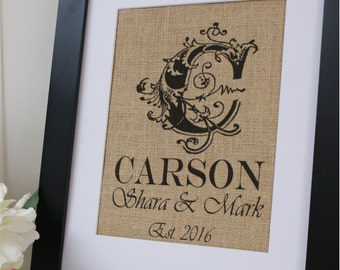 Free US Shipping...Personalized Elegant Burlap Print. Great for wedding gift, engagement gift, anniversary gift!
