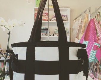 Large Bag- Diaper Bag- Work Bag- School Bag- Travel Bag, in black and white with bows