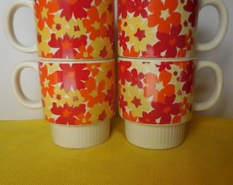 Four Flower Power MOD Bright Mugs