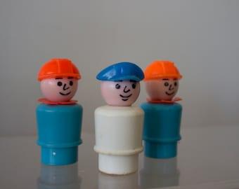 Three Working Men Little People Vintage Fisher Price