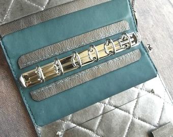 leather binder, silver quilting, silver planner, leather planner, planner binder, silver journal, leather organizer, refillable, handstitch