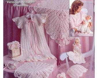 Baby Crochet Pattern - Layette Set, Blanket, Dress, Bonnet, Booties, Doll Dress,   PDF