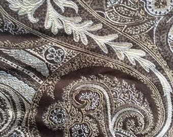 PAISLEY- taupe brown white khaki smoke, upholstery fabric, 08-43-07-028