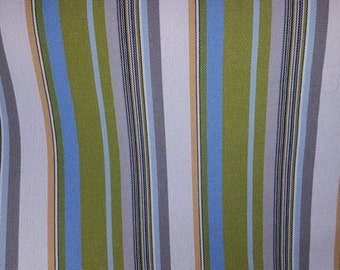 Canvas STRIPE Lime GREEN Sky BLUE Grey White Cotton Upholstery Fabric, 28-05-13-0415