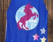 Fancy Prancy Unicorn Mid-Length Cape on White or Blue Sequin with Purple Faux Velvet Lining