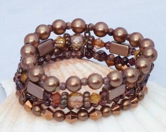 Bronze copper multi-strand stretch cuff bracelet