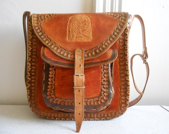 Old Indian Large Leather Bag/Saddle Bag/Tooled with Newer Rivets & Buckles