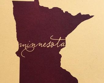 Letterpress Minnesota print