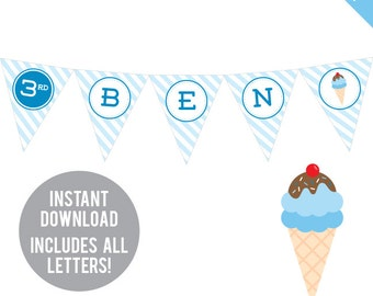 INSTANT DOWNLOAD Ice Cream Party (Blue) - DIY printable pennant banner - Includes all letters, plus ages 1-18