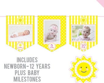 INSTANT DOWNLOAD Sunshine Party - DIY printable photo banner kit - Includes Newborn through 12 Years, Plus Baby Milestones