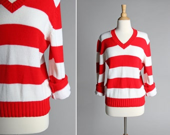 Vintage White and Red Striped Pull Over V neck Sweater- Knit Long Sleeve Nautical Top Shirt- Size Medium or Large M L
