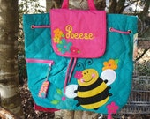 Bumble bee Stephen Joseph personalized quilted backpack, diaper bag,baby shower gift, girl birthday gift