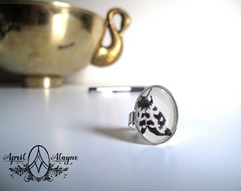 Art ring- Leopard Moth- April Alayne- butterfly- wings- painting