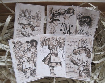 NEW assorted alice in wonderland peel and stick stickers set of 6