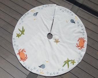 "Limited Edition PACIFIC NORTHWEST tree skirt crab seagull sea star 52"" (137cm) beachy ocean Christmas tree skirt beach Crabby Chris™"