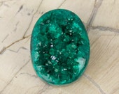 Sweet Small Oval Deep Green Dioptase on Matrix Drusy-Druzy Cabochon