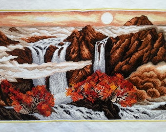 New Finished Completed Cross Stitch - Autumn - Sunrise - Waterfall - L31
